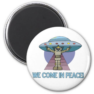 Peace Alien 2 Inch Round Magnet