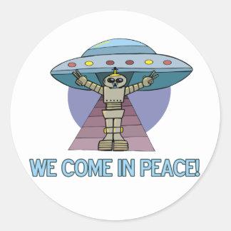 Peace Alien Classic Round Sticker