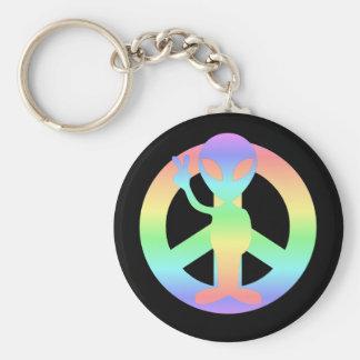 peace alien key chain