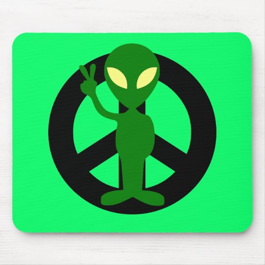 peace alien mouse pad