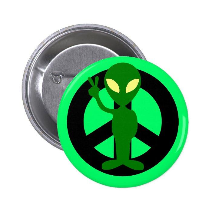 peace alien pinback button