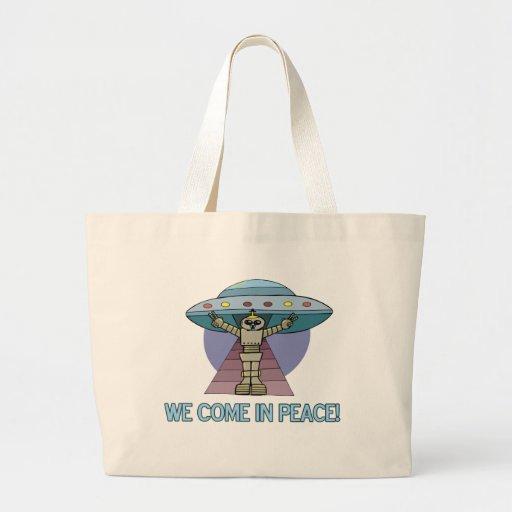 Peace Alien Tote Bags