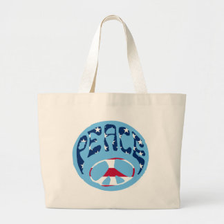 Peace - American Flag Large Tote Bag