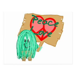 Peace an love - heart shaped peace sign postcard