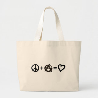 Peace + Anarchy = Love Large Tote Bag