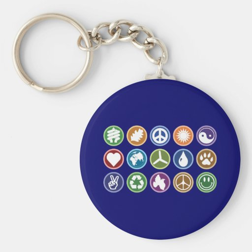 Peace and Eco Symbols Keychain