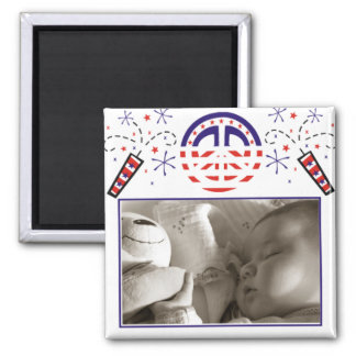 Peace and Fireworks Patriotic Picture Frame 2 Inch Square Magnet