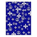Peace and Fleur de Lis Christmas Cards Postcard