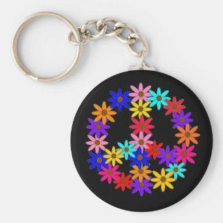 Peace and Flower Power Keychain