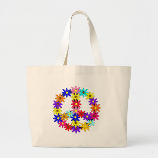 Peace and Flower Power Large Tote Bag