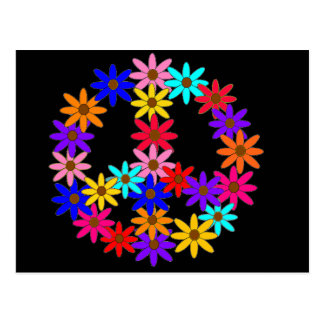 Peace and Flower Power Postcard