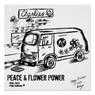 Peace and Flower Power Poster