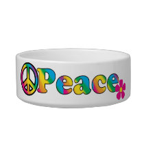 Peace and Flowers Bright Colors 60s Hippie Design Bowl
