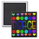 Peace and Flowers Fridge Magnet