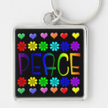 Peace and Flowers Key Chains