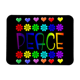 Peace and Flowers Rectangular Photo Magnet