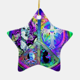 Peace and Harmony Double-Sided Star Ceramic Christmas Ornament