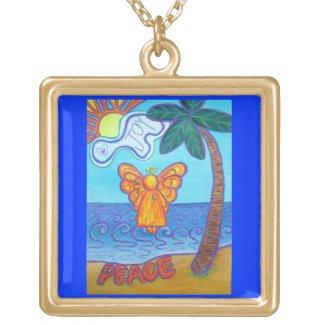 Peace and Joy Beach Guardian Angel Art Necklace