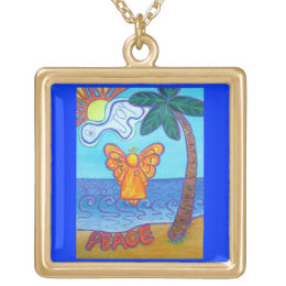 Peace and Joy Beach Guardian Angel Art Necklace