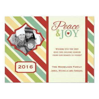 Peace and JOY Candy Cane Stripe Flat Card