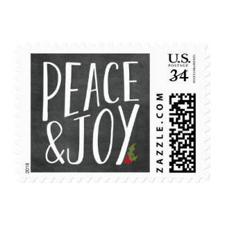 Peace and Joy Chalkboard Holiday Christmas Stamp