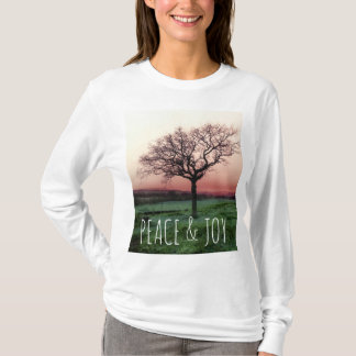Peace and joy, customizable Tshirt with a tree