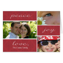 Peace and Joy Folded Holiday Card-red