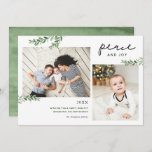 "Peace and Joy | Greenery Branches 2 Photo Holiday Card<br><div class=""desc"">Affordable custom printed holiday photo cards with simple templates for customization. The design features Peace and Joy text, a photo collage template with space for 2 photos and your custom greeting, accented with simple elegant watercolor greenery branches. Use the design tools to edit fonts and colors or upload more photos...</div>"