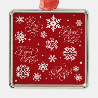 Peace and joy metal ornament