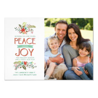 Peace and Joy Modern Floral Holiday Photo Card