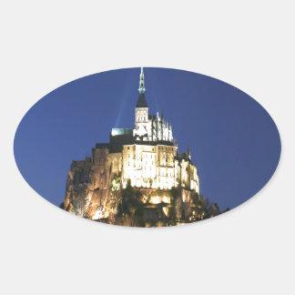 Peace and joy Mont Saint Michel Normandy Oval Sticker