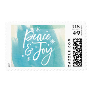 Peace and Joy Snowflakes Watercolor Postage