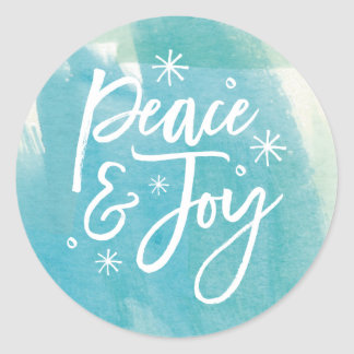 Peace and Joy Snowflakes Watercolor Sticker
