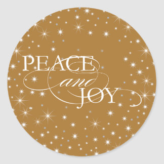 Peace and Joy - Stars - Sticker, Seal Classic Round Sticker