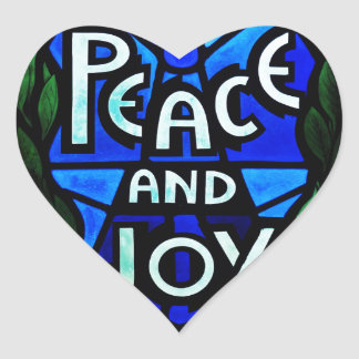 Peace And Joy Heart Stickers