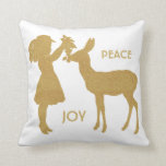Peace and Joy Vintage Girl and Deer Pillow