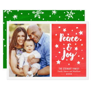 Peace and Joy Watercolor Merry Christmas Photo Card
