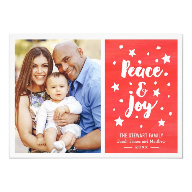 Peace and Joy Watercolor Merry Christmas Photo Card (back side)
