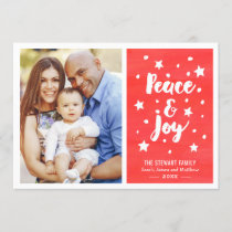 Peace and Joy Watercolor Merry Christmas Photo Holiday Card