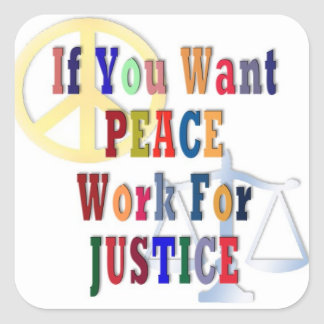 Peace and Justice Square Sticker