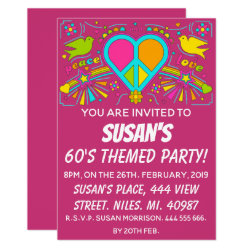 Peace and Love. 60's Themed Party. Invitation