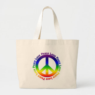 Peace and Love all around Canvas Bags