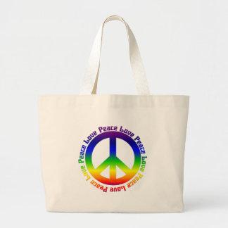Peace and Love all around Jumbo Tote Bag