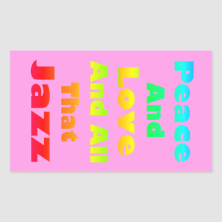 Peace and Love and All that Jazz Graphic Rectangular Sticker
