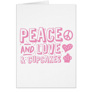 peace and love and cupcakes card