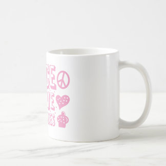 peace and love and cupcakes coffee mug