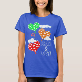 Peace And Love And Heart Balloons T-Shirt