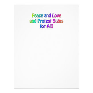 Peace and Love and Protest Signs for All Letterhead