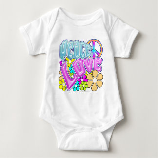Peace And Love Baby Bodysuit