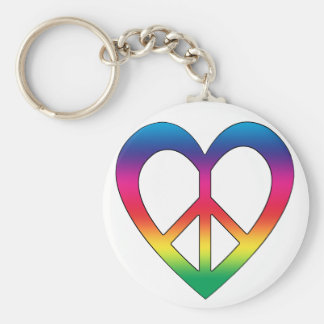 Peace and Love Basic Round Button Keychain